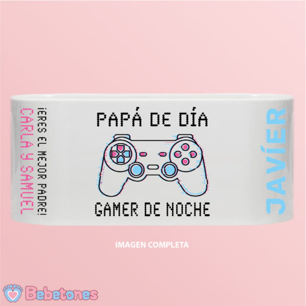 Taza personalizada Papá Gamer Mando Blanco imagen completa